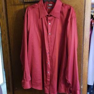 Mens brick red dress shirt, silky feel